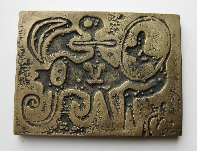 1947 Joan Miro Signed Bronze Relief Laurels Number 1 Art Plaque Sculpture In Excellent Condition For Sale In San Diego, CA