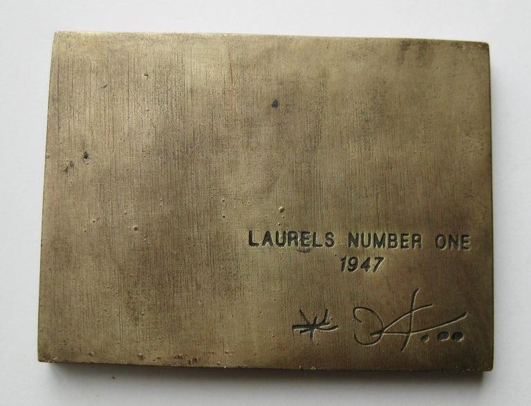 20th Century 1947 Joan Miro Signed Bronze Relief Laurels Number 1 Art Plaque Sculpture For Sale