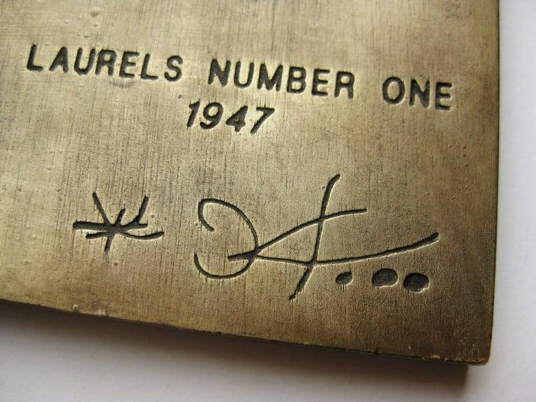 1947 Joan Miro Signed Bronze Relief Laurels Number 1 Art Plaque Sculpture For Sale 1
