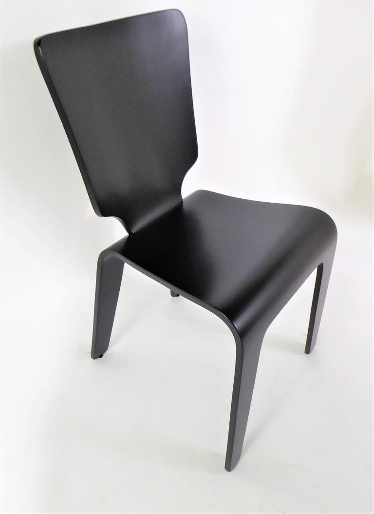 American 1947 Mid Century Black Lacquered Thaden-Jordan Side Chair For Sale