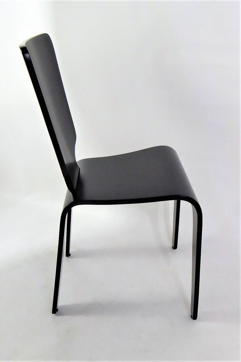 1947 Mid Century Black Lacquered Thaden-Jordan Side Chair In Good Condition For Sale In Miami, FL