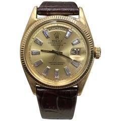 1947 Rare Vintage Rolex President Day Date 6611 Diamond Dial 18 Karat Gold