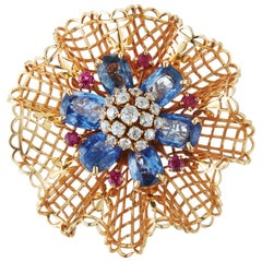 1947 Van Cleef & Arpels Lace Bouquet Sapphire Diamond Ruby Gold Brooch