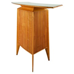 1948-50 Dry Bar-Counter, Sycamore, Grissini Pattern, Golden Patina Glass, Italy