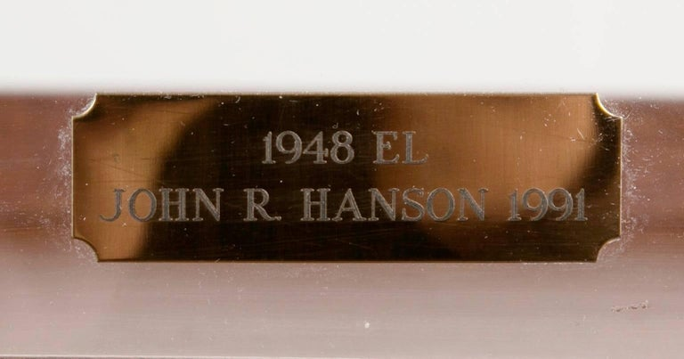 Large-Scale Carved Wood 1948 EL Panhead Harley Davidson with Display Case For Sale 3