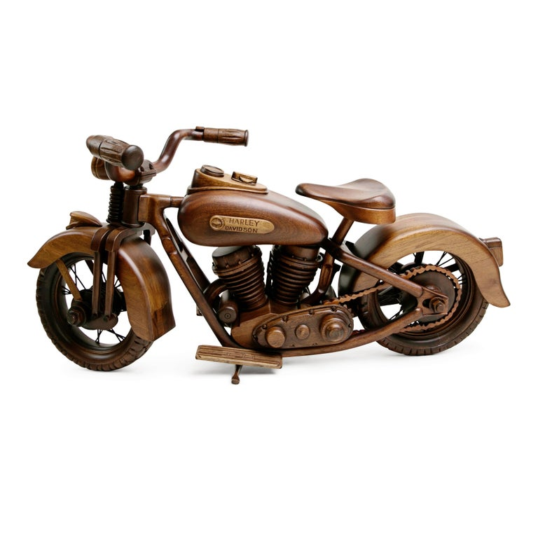 Late 20th Century Large-Scale Carved Wood 1948 EL Panhead Harley Davidson with Display Case For Sale
