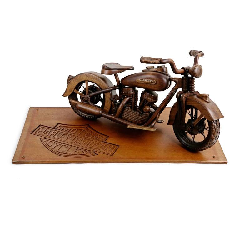 Modern Large-Scale Carved Wood 1948 EL Panhead Harley Davidson with Display Case For Sale