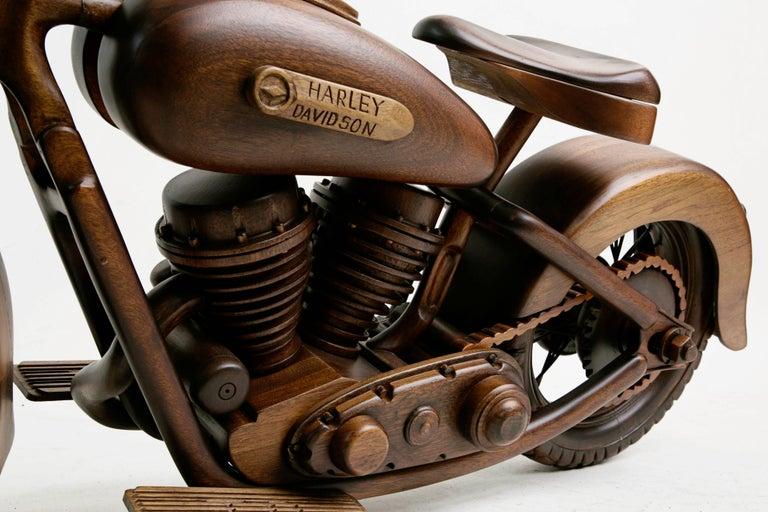 Large-Scale Carved Wood 1948 EL Panhead Harley Davidson with Display Case For Sale 1
