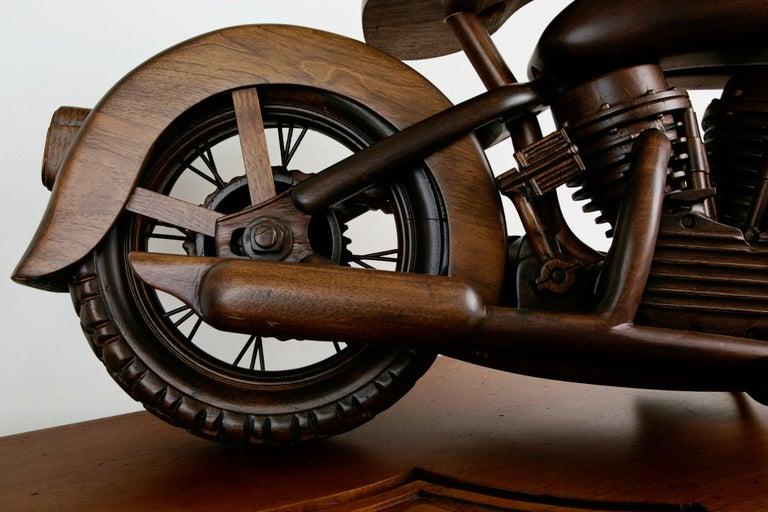 Large-Scale Carved Wood 1948 EL Panhead Harley Davidson with Display Case For Sale 2