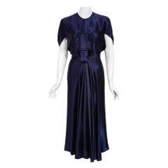 1948 Herbert Sondheim Documented Midnight-Blue Silk Satin Draped Sleeve Dress