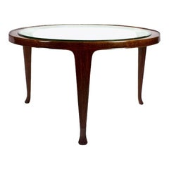 1948 Large Tripod Coffee Table Attributed to Guglielmo Ulrich, Mahogany, Italy