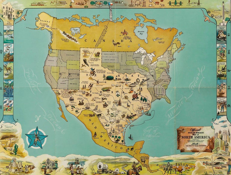 1948 World Map.1948 Official Texas Brags Map Of North America For Sale At 1stdibs