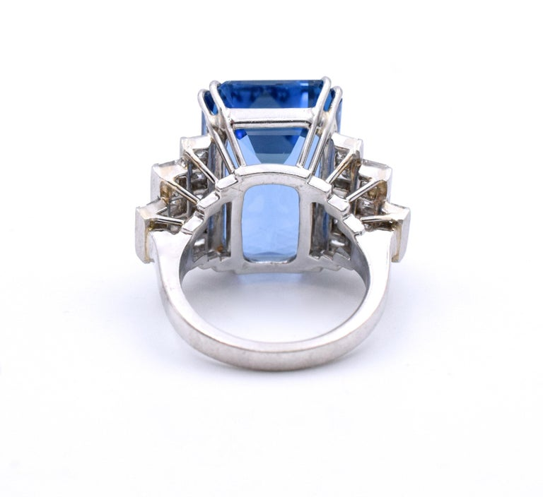 Emerald Cut 19.49 carat Aquamarine Diamond Platinum Ring For Sale