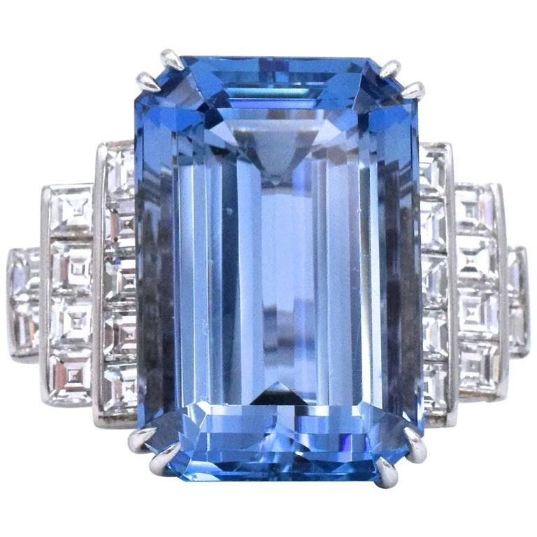 19.49 carat Aquamarine Diamond Platinum Ring For Sale