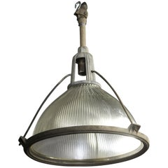 1949 Large Industrial Holophane Art Deco Light Fixture Pendant