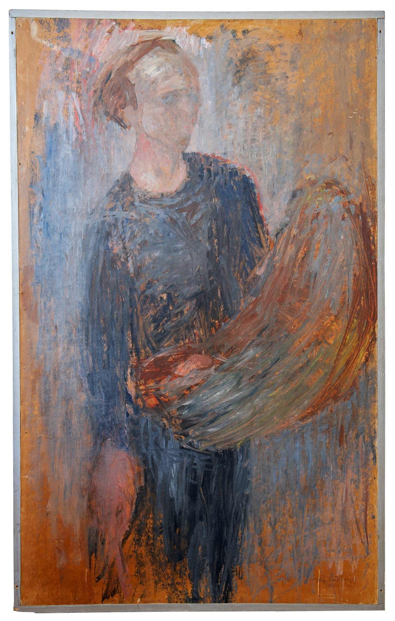 A large and very painterly self-portrait (oil on board) by Swedish artist Stig Lindberg, showing the artist holding a palette. Signed