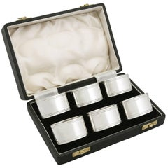 1949 Sterling Silver Napkin Rings Set of Six