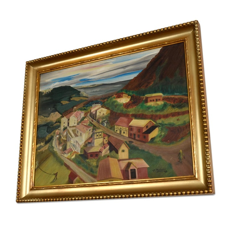 Absolutely charming 1949 painting of a village nestled in a mountain valley. The artist has beautifully captured a very plain moment in time. At first glance, it seems the buildings are the subject of the painting. Each building is beautifully