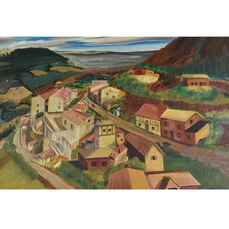 1949 Village in The Valley Folk Art Landscape Painting by M. Thompson In Excellent Condition For Sale In Chattanooga, TN