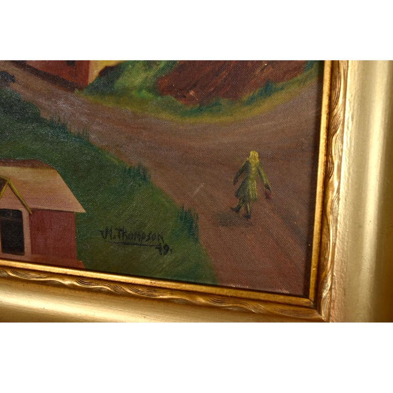 20th Century 1949 Village in The Valley Folk Art Landscape Painting by M. Thompson For Sale