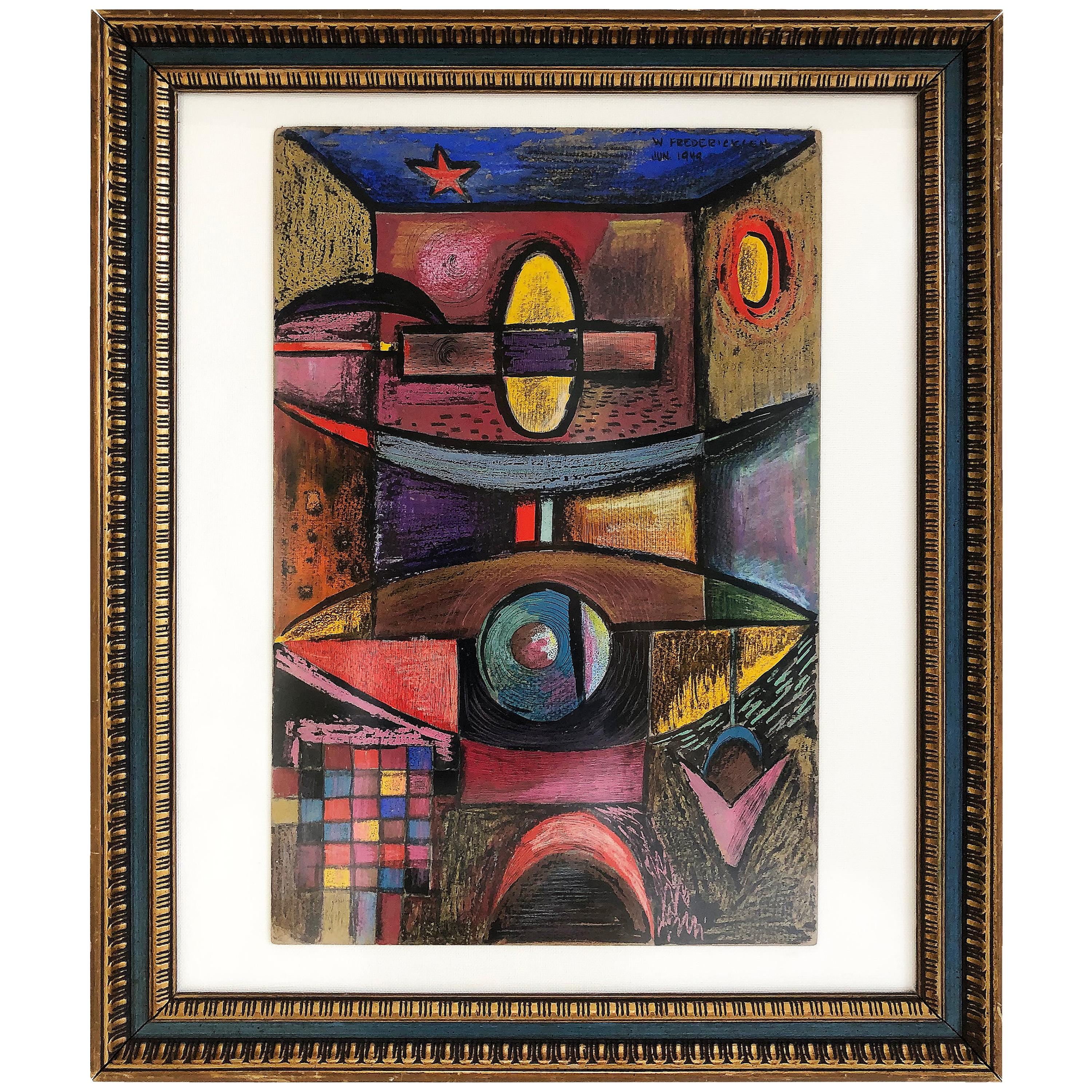 1949 W. Fredericks Abstract Cubist Pastel Drawing