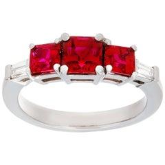 1.95 3-Stone Burma Ruby and Diamond Ring Made in Platinum