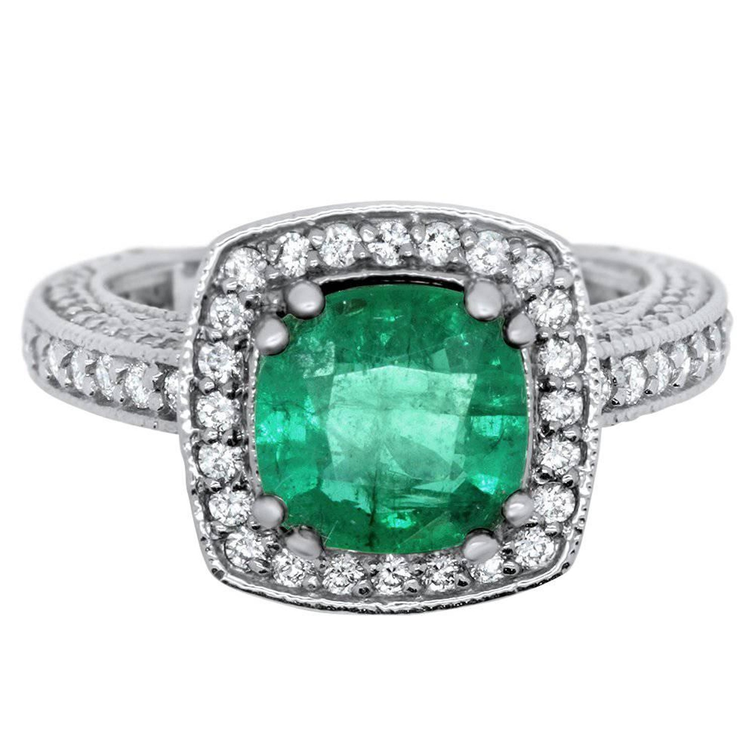 emerald white diamond green gold in cushion cut halo image and ring amethyst