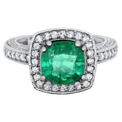 1.95 Carat Cushion Cut Natural Emerald and 0.83 Carat White Diamond Ring