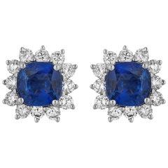 1.95 Carat Cushion Sapphire Diamond Earrings