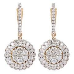 1.95 Carat Diamond 18 Karat Rose Gold Earrings