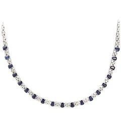 1.95 Carat Diamonds 8.20 Carat Blue Sapphire 18 Karat White Gold Necklace