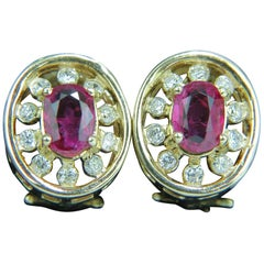 1.95 Carat Natural Ruby Diamond Earrings Cluster 14 Karat Omega Post