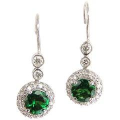 1.95 Carat Natural Vivid Green Tsavorite Diamond Dangle Earrings 14 Karat