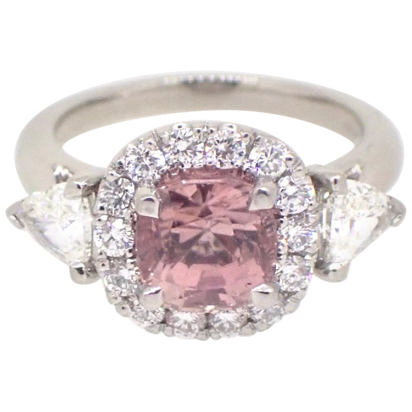 1.95 Carat Pink Tourmaline Diamond Platinum Engagement Ring