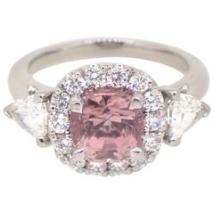 1.95 Carat Pink Tourmaline Diamond Platinum Engagement Ring