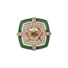 1.95 Carat Pressiolite Cushion Briollete Diamond Enamel Ring