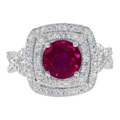 1.95 Carat Ruby and Diamond White Gold Cocktail Ring