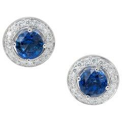 1.95 Carat Sapphire Diamond Halo White Gold Stud Earrings