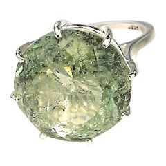 19.5 Carat Sparkling Green Beryl in Sterling Silver Cocktail Ring