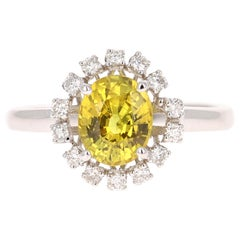 1.95 Carat Yellow Sapphire Diamond Ring 14 Karat White Gold