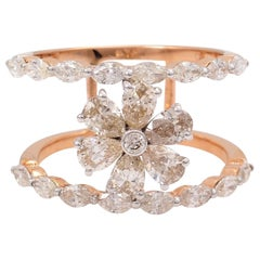 1.95 Carat Marquise Diamond 18 Karat Rose Gold Floral Ring