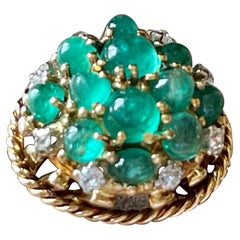 1950 18 K Yellow Gold Vintage Emerald Diamond Cocktail Ring