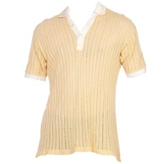 1950 1960S Mens Cotton Open Knit Yellow Polo Shirt