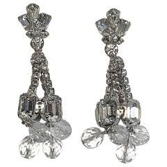 1950/ 1960s Rhinestone & Crystal Bead Pendant Earrings with Post