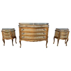 1950-1970 Commode Crossbow and Pair of Bedside Tables 3 Drawers Golden Wood