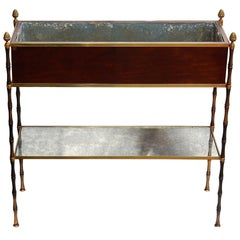1950-1970 Jardinière Style Baguès Gilt Bronze Bamboo, Mahogany and Zinc Tray