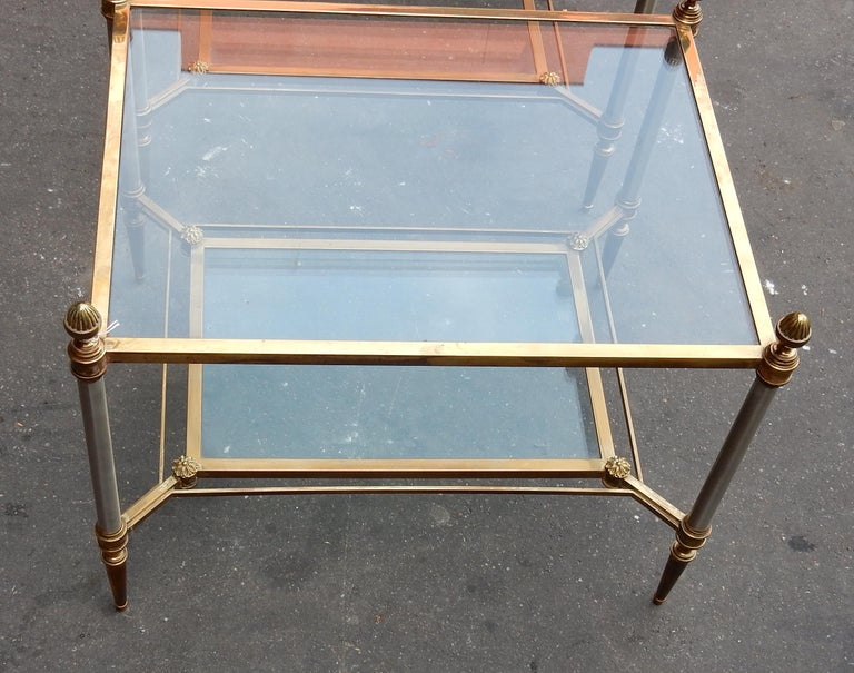 Patinated 1950-1970 Pair of Coffee Tables Maison Jansen For Sale