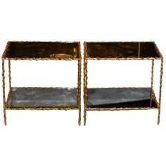 1950-1970 Pair of End of Sofa Maison Jansen, Gilt Bronze, Tops in Olded Mirror