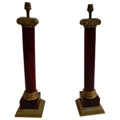 1950-1970 Pair of Maison Jansen Lamps, Gilt Bronze and Bakelite, Amber Color