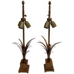 1950-1970 Pair of Reed Lamps in Brass and Gilt Bronze Signed Charles